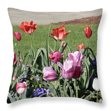Spring Tulips For My Son Throw Pillow