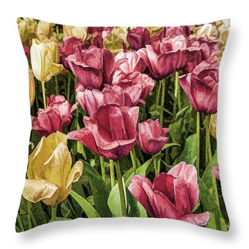 Throw Pillow featuring the photograph Spring Tulips by Linda Blair