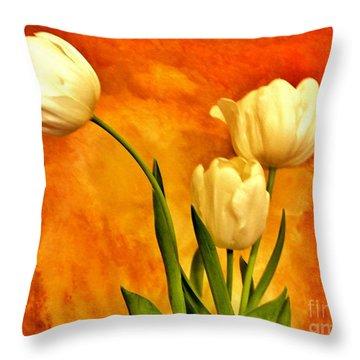 Spring Tulips Throw Pillow by Marsha Heiken