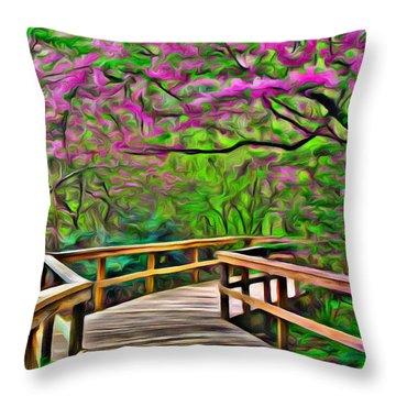 Spring Walk - Paint Rendering Throw Pillow