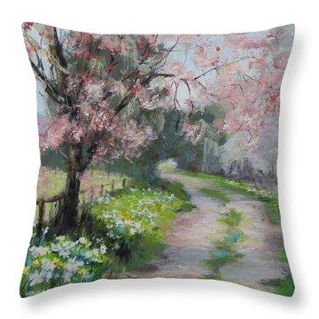Spring Walk Throw Pillow by Karen Ilari