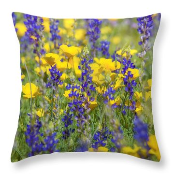 Spring Wildflower Bouquet  Throw Pillow by Saija  Lehtonen