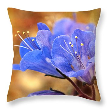 Spring Wildflowers - The Desert Bluebells Throw Pillow