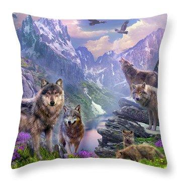 Spring Wolves Throw Pillow by Jan Patrik Krasny