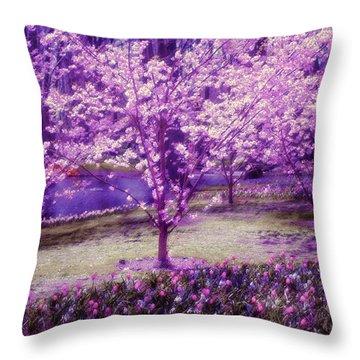 Spring Wonderland Pastel. Garden Keukenhof. Netherlands Throw Pillow by Jenny Rainbow