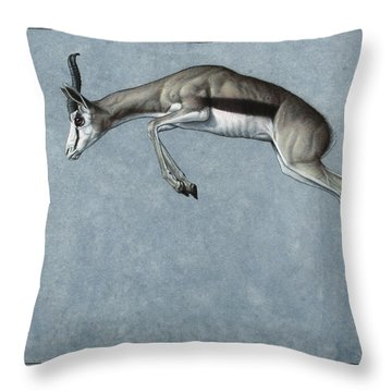 Throw Pillow featuring the painting Springbok by James W Johnson