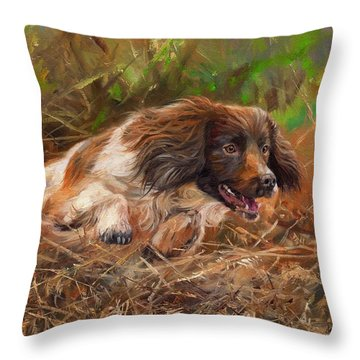 Springer Spaniel 2 Throw Pillow by David Stribbling