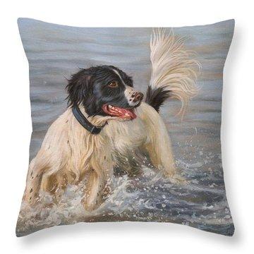 Springer Spaniel Throw Pillow by David Stribbling