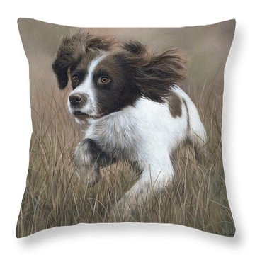 Springer Spaniel Painting Throw Pillow