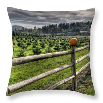 Springhetti Road Pumpkins Throw Pillow