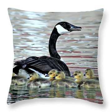 Spring's First Goslings Throw Pillow