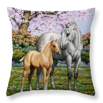Spring's Gift - Mare And Foal Throw Pillow