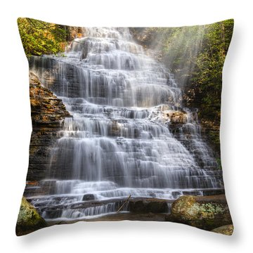 Springtime At Benton Falls Throw Pillow by Debra and Dave Vanderlaan