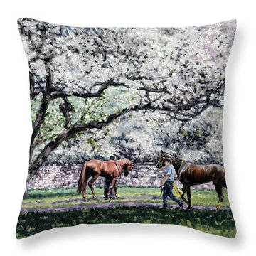 Springtime At Keeneland Throw Pillow