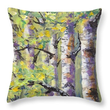 Springtime Birches Throw Pillow by Karen Mattson