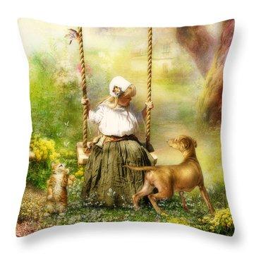 Springtime Throw Pillow by Cindy Grundsten