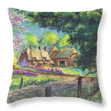 Springtime Cottage Throw Pillow by Carol Wisniewski