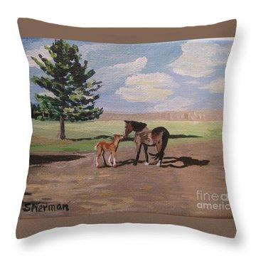 Springtime Foal Throw Pillow
