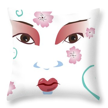 Springtime Geisha Throw Pillow