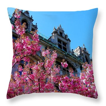 Springtime On Commonwealth Avenue Throw Pillow
