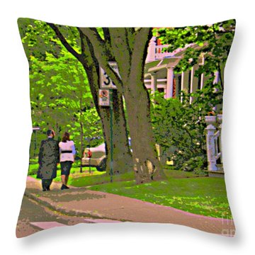 Springtime Stroll Through Beautiful Tree Lined Outremont Montreal Street Scene Art By Carole Spandau Throw Pillow by Carole Spandau