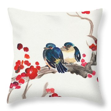Springtime Sweethearts Throw Pillow