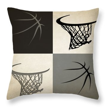 Spurs Ball And Hoop Throw Pillow by Joe Hamilton