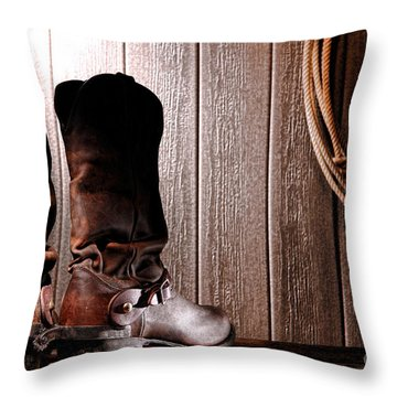 Spurs On Cowboy Boots Heels Throw Pillow by Olivier Le Queinec