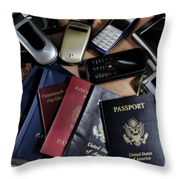 Spy Kit Throw Pillow by Olivier Le Queinec