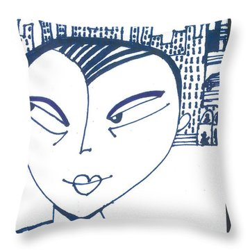Throw Pillow featuring the drawing Spying  by Don Koester