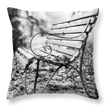Throw Pillow featuring the photograph Square Bench by Gary Gillette