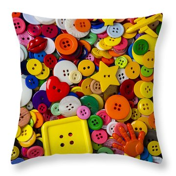 Square Button Throw Pillow by Garry Gay