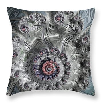 Square Format Abstract Fractal Spiral Art Throw Pillow by Matthias Hauser