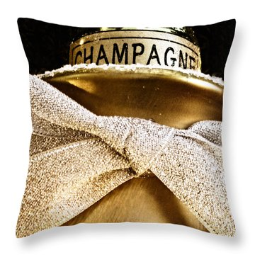 Square Gold Champagne Ornament Throw Pillow by Birgit Tyrrell