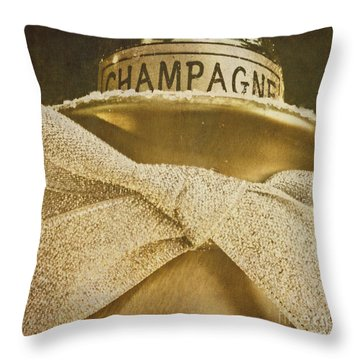 Square Gold Vintage Champagne Ornament Throw Pillow by Birgit Tyrrell