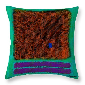 Square On Turquoise Throw Pillow