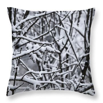Square Snowy Branches Throw Pillow by Birgit Tyrrell