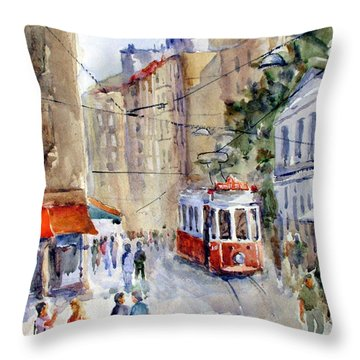 Square Tunel - Beyoglu Istanbul Throw Pillow