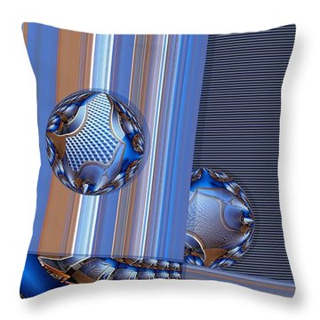 Square With Circles Throw Pillow by Ron Bissett