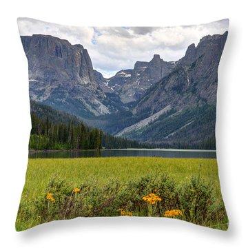 Squaretop Mountain And Upper Green River Lake  Throw Pillow