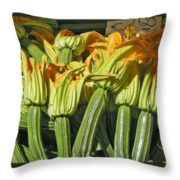 Squash Blossoms Throw Pillow by Jean Hall