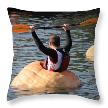 Throw Pillow featuring the photograph The Great Pumpkin Race by Aaron Berg