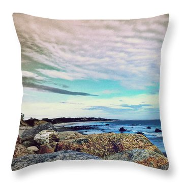 Squibby Cliffs And Mackerel Sky Throw Pillow by Kathy Barney