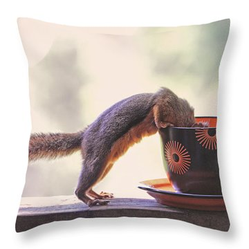 Squirrel And Coffee Throw Pillow by Peggy Collins