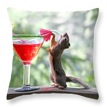 Squirrel At Cocktail Hour Throw Pillow