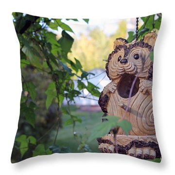 Squirrel Bird Feeder Throw Pillow