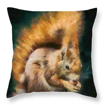 Throw Pillow featuring the painting Squirrel by Georgi Dimitrov