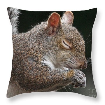 Squirrel Giving Thanks Throw Pillow