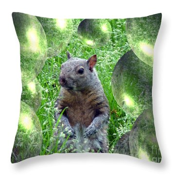 Squirrel In Bubbles Throw Pillow