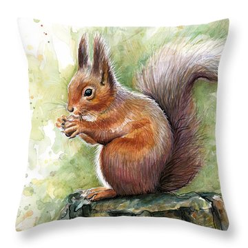 Squirrel Watercolor Art Throw Pillow